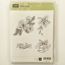Stampin Up Bells & Boughs Set Christmas Poinsettia Holly Rubber Stamps #20B