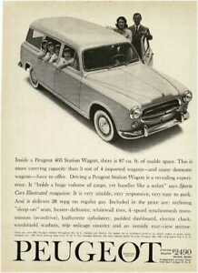 1960 PEUGEOT 403 Station Wagon family with girl quadruplets Vintage Print Ad