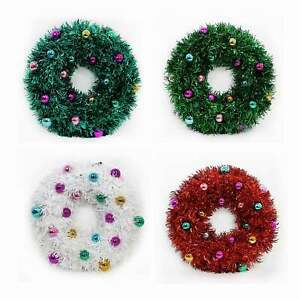 "19"" Tinsel Wreath Green White Red Teal Christmas Holiday Hanging Retro Decor"