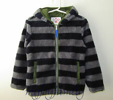 HANNA ANDERSSON Reversible Marshmallow Hood Jacket Navy Grey Green 100 4T 4 NWT