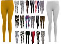 NEW PLUS SIZE WOMENS LADIES FULL LENGTH STRETCH PLAIN LEGGINGS SIZES 8-30
