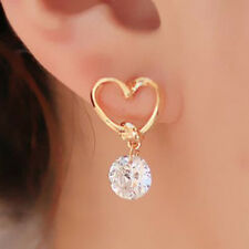 Women's Cute Love Heart Crystal Zircon Dangle Ear Pins Eardrop Earrings Casual