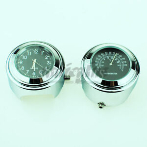 "Waterproof 7/8"" 1"" Motorcycle Accessory Handlebar Mount Clock Watch Thermometer"