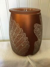 Scentsy Full Size Wax Warmer - Gold Leaf - Metallic Autumn Fall Lacy Leaves Nib
