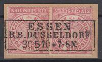 29607) ESSEN R. B. DÜSSELDORF 1870 NDP-Stempel auf Briefstück Paar Mi.-Nr. 16