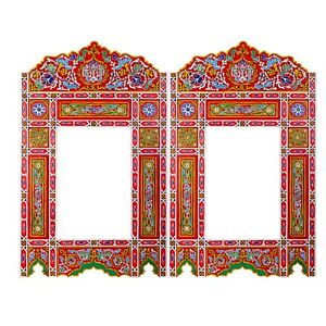Set of 2 Moroccan Mirror Red hanging mirror frame, decor of wood, hand-painted