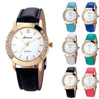 lujo mujeres oro diamante cuero analógico reloj de pulsera de cuarzo de regalo