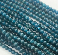 Natural 8mm Blue Ink Apatite Gemstones Round Loose Beads 15 inches