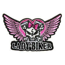 Embroidered Lady Biker Cute Skull Pink Wings Iron on Sew on Biker Patch Badge