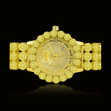 Real Diamond Gold Canary Custom Roman Flower Ice House Luxury Watch W/Date Men's