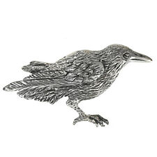 Sterling Silver Raven Crow Brooch Pin Corvid Bird Totem Jewelry .925 SS