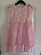 Girls Pink Party Dress with Short Sleeves