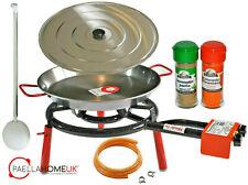50cm Polished Paella Pan + 40cm 2Ring Gas Burner Complete Set +PAELLA GIFT