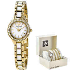 Anne Klein White Dial Ladies Watch and Bracelet Set ANK/3396WTST