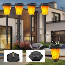 4 Tlg LED Solar Tanzen Flamme Fackel Flackernde Landschaft Lampe Garten Licht