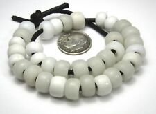 34 RARE AMAZING OLD WHITE PADRE/CROW ANTIQUE BEADS