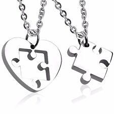 Stainless Steel 2-Piece Love Heart Jigsaw Pendant