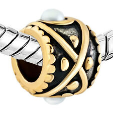 Pugster European charm bead- Pearl in gold two tone drum shaped evil eye