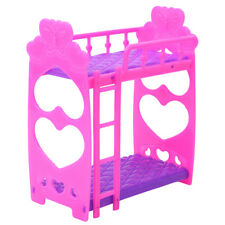 Mini Dollhouse Furniture Doll Plastic Bunk Bed Barbie House Toy Gift DG