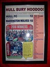 More details for hull fc 12 warrington wolves 10 - 2016 challenge cup final - framed print