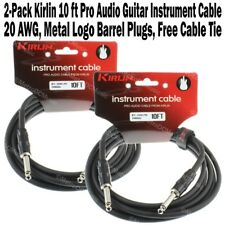 """2-Pack Kirlin 10ft Guitar Instrument Cable 1/4"""" +Cable Tie Black Patch Cord 3m"""