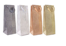 Pack of 4 Glitter Holographic Bottle Gift Bags Birthday Christmas Anniversary