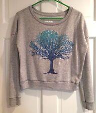 Aeropostale Womens Blue Aqua Tree & Sequin Heather Gray Sweatshirt - Size XS