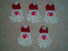 Set of 5 Handmade Crochet Christmas Santa/Ornament-Package Tie-Lapel Pin