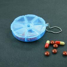 Portable Organizer Pill Round Box 7 Slot Health Pill Box Case Medicine Drug 8cm
