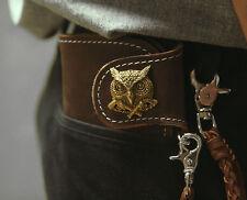 Biker long Wallet chain brass Genuine Leather Brown owl Old School Cross Guns