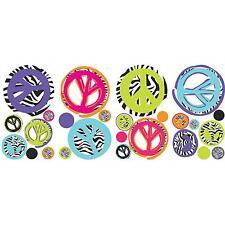 ZEBRA animal print PEACE SIGNS wall stickers 26 decals decor teen dorm polka dot