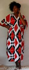 black red wite color caftan dress rayon art to wear M L 1X 2X 3X 4X