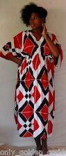 black red wite color caftan dress rayon art to wear M L 1X 2X 3X 4X
