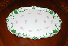 Wonderful Large Vanity Or Serving Porcelain Tray Done In Green White And Flowers