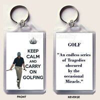 KEEP CALM AND CARRY ON GOLFING Keyring Unique Fathers' Day or Birthday Gift