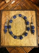 GIFT SET: Egyptian Blue Lapis, Clear Crystals & Bali Silver. Bracelet & Earrings