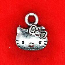 10 x hello kitty Tibetan Silver Charm Collier Bracelet Pendentif trouver faisant un