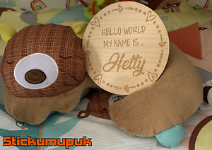 Personalised Birth Announcement Plaque, New Baby Name Sign, Wooden Baby Hearts