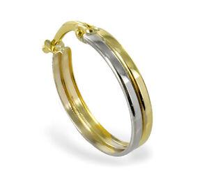 ECHT GOLD *** Herren Single-Creole 16 mm Ohrring bicolor