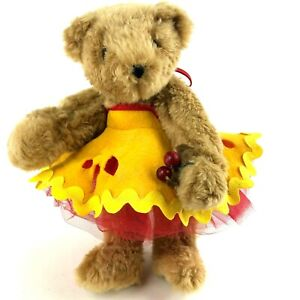 "Rare Vintage 1997 Vermont Teddy Bear Cherry Pie Halter Dress 12"" Plush & Jointed"