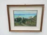 Giuseppe Calvi (Milano 1895 - Alassio, 1983) olio su tavola Paesaggio 60x50 cm