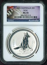 2006 Australia 1 oz Silver Lunar year DOG RARE NGC MS 70 Coin