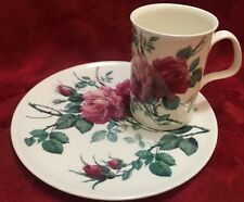 Roy Kirkham Cup Mug Snack Plate TV Tray England Pink Large Flowers Roses  New
