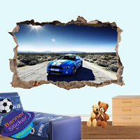 MUSCLE SPORT CAR SUNNY SKY 3D SMASHED WALL STICKER ROOM DECORATION DECAL MURAL