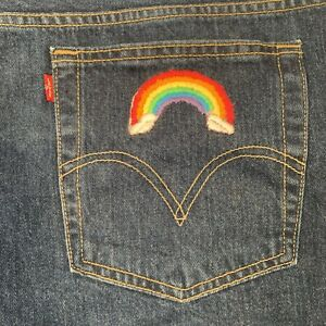 Y2K LEVIS Hand Embroidered Shorts 22W  44 X 8 NWT Rainbow 100% Cotton New
