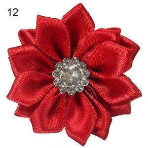 10 Stück 4cm Satinband Blumen glänzend Strass Applikationen DIY Handwerk Super