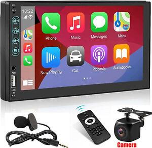 "7"" Double Din Car Stereo with Apple Carplay & Android Auto Play MP5 Radio+Camera"