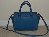 NEW MICHAEL Kors SELMA STUD Medium TZ Satchel Leather Bag Purse $328 Steel Blue
