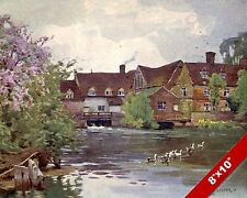 FLATFORD MILL SUFFOLK ENGLAND ENGLISH COUNTRYSIDE ART PAINTING REAL CANVAS PRINT