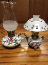 Pair Of Vintage Mini Floral Porcelain Oil Lamps One Is Made In Japan